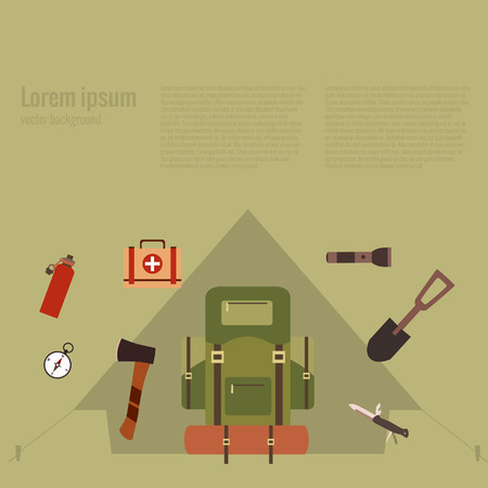 hiking: Summer hiking camp concept. Vector illustration of hiking background. Poster with hiking concept made in flat style. Summer hiking icons set: backpack, compass, flashlight. Summer hiking adventure.