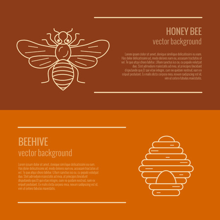 mead: Honey bee and beehive banner. Honey bee and beehive vector symbol. Outline style Honey bee and beehive banner. Mead bee and beehive illustration. Vector illustration of Honey bee and beehive banner Illustration