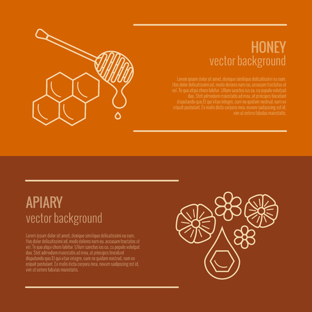 mead: Honey product banner. Honey product vector symbol. Outline style honey product horizontal. Mead product illustration. Vector illustration of honey product banner for your design
