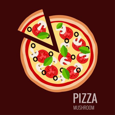 pizza slice: Pizza piece icon background. Pizza icon flat design.  Flat illustration of pizza slice for pizza menu. Vector pizza  silhouette collection. Pizza icon. Pizza isolated  background. Pizza food Illustration