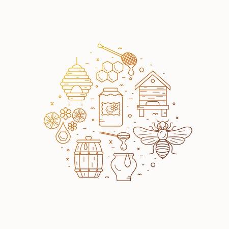 bee house: Beekeeping product concept. Beekeeping vector symbols. Bee, honey, bee house, honeycomb, apiary, beehive, flower. Outline style beekeeping concept. Beekeeping product concept illustration Illustration