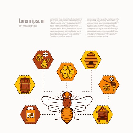 Beekeeping product concept. Beekeeping vector symbols. Bee, honey, bee house, honeycomb, apiary, beehive, flower. Outline style beekeeping concept. Beekeeping product concept illustration Ilustração