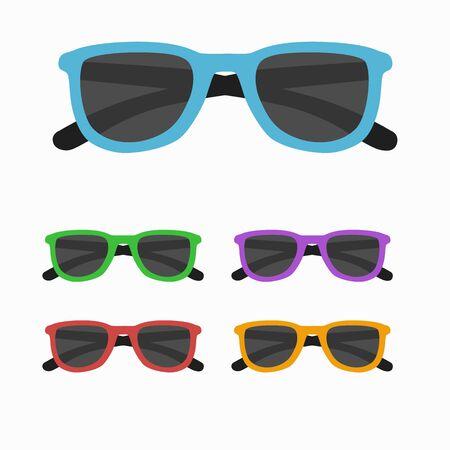 Sun glasses set vector illustration. Sun glasses  icon set  isolated. Sun glasses summer symbol. Sun glasses set for traveling design. Summer time vacation Sun glasses isolated icon