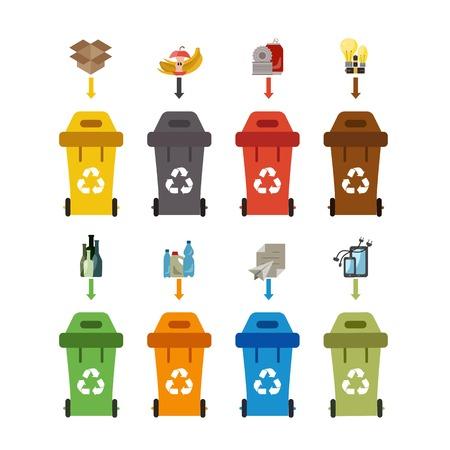 Abfallrecyclingbehälter gesetzt. Vektor-Illustration der Abfall-Recycling-Management. Abfallrecyclingbehälter flach Abfallsortieranlage Konzept. Farbige Abfallrecyclingbehälter Set mit Müllsortieranlage Kategorien. Vektorgrafik