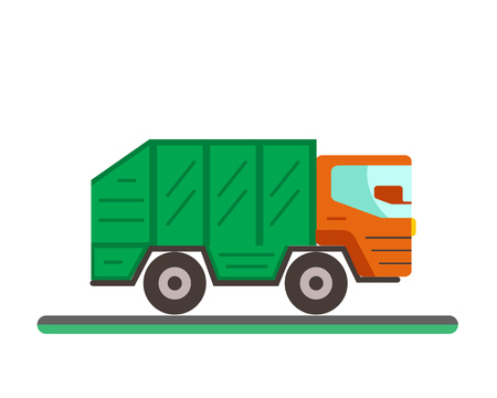 garbage container: Garbage truck illustration. Waste disposal flat concept with garbage container truck. City waste disposal management. Waste sorting Garbage truck Illustration