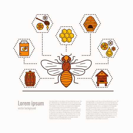 mead: Honey bee icon illustration. Honey bee vector symbol. Bee, honey, bee house, honeycomb, beehive, flower. Outline style honey bee icon. Vector icon honey bee. Mead bee icon illustration Illustration