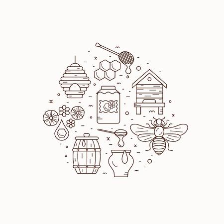 bee house: Honey bee house illustration. Honey bee vector symbol. Bee, honey, bee house, honeycomb, beehive, flower. Outline style honey bee house. Vector icon honey bee. Mead bee house  illustration