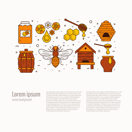 mead: Honey product icon set. Honey vector symbols. Bee, honey, bee house, honeycomb, beehive, apiary,  flower. Outline style honey product icons. Mead product illustration Illustration