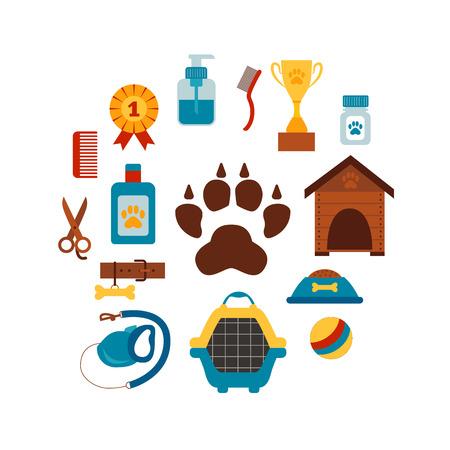 leash: Pet training concept with dog care elements. Pet training:   bowl, brush, collar, leash, scissors. Pet training  poster vector illustration. Colorful pet training concept in flat style. Dog care pet training concept