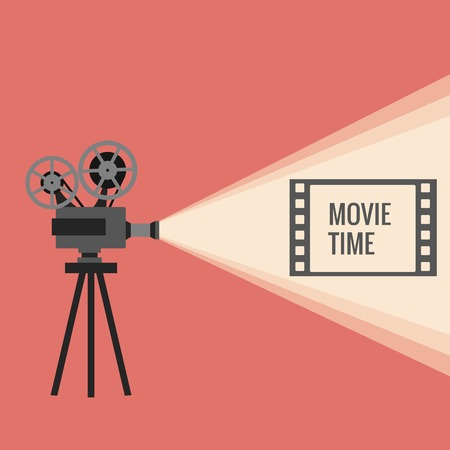 cinematograph: Movie projector vector illustration. Movie projector vector concept. Movie projector background cinema illustration.  Movie projector vintage poster. Vector movie projector background for your design.