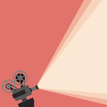CINE: Película proyector ilustración vectorial. Película concepto proyector de vectores. proyector de películas de cine fondo ilustración. proyector de películas cartel de la vendimia. Vector fondo película proyector para su diseño. Vectores