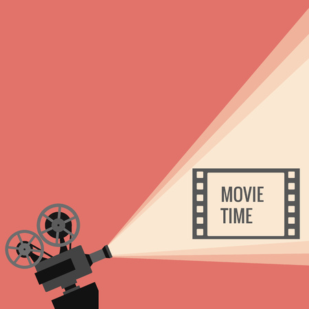 movie projector: Movie projector vector illustration. Movie projector vector concept. Movie projector background cinema illustration.  Movie projector vintage poster. Vector movie projector background for your design.