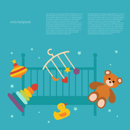 nipple: Baby care concept with toy elements Illustration