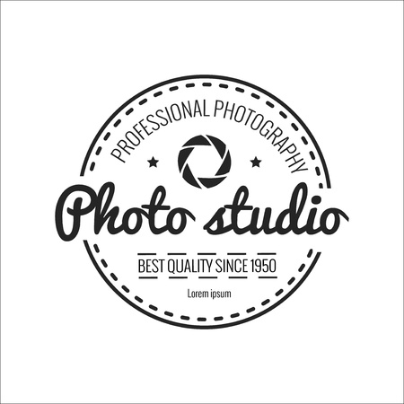 photography logo: Photo badge outline vector illustration. Photo logo  icon  isolated. Photo logo symbol. Photography badge for sport design. Photo concept photography logo isolated background. Photo badge vector