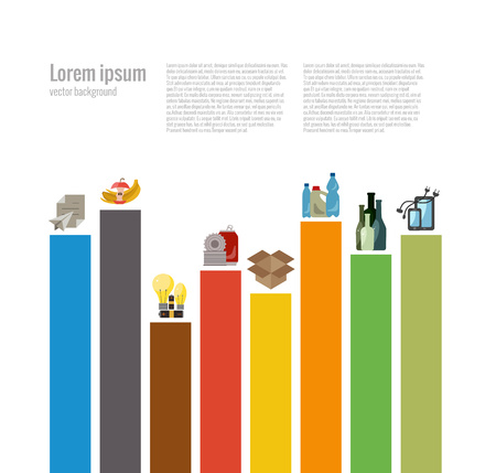 Garbage clasificación concepto plana. Ilustración del vector de la clasificación de basura orgánica con categorías, papel, plástico, vidrio, metal, desechos electrónicos, baterías, bombillas y residuos mezclados. iconos de clasificación de basura establecen Ilustración de vector