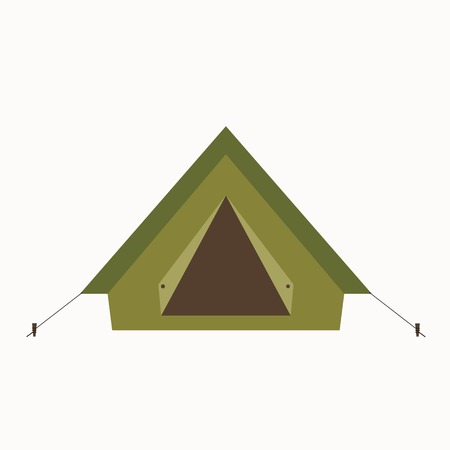 Camp tent icon. Isolated camping tent icon vector. Travel equipment tourism camp tent illustration for explore camping design Vettoriali