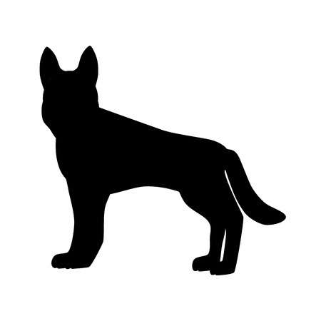 alsatian: Flat german shepherd hound pet illustration. Standing cute dog vector. Flat dog animal pet vector icon. Home cartoon german shepherd in flat style. Dog black silhouette isolated on white background Illustration