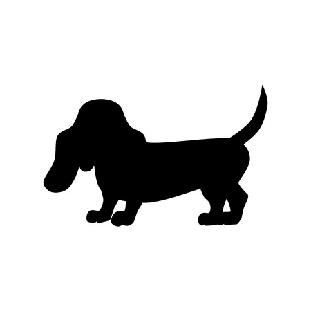 basset hound: Flat basset hound pet illustration. Standing cute dog vector. Flat dog animal pet vector icon. Home cartoon basset hound  in flat style. Dog black silhouette isolated on white background Illustration