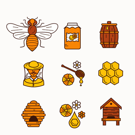 mead: Vector illustration beekeeping in outline style. Beehive icon, bee, apiary and honey symbols for honey healthy food designs. Apiary icons: bee, honey, apiarist, beehive, honeycomb. Beehive apriary