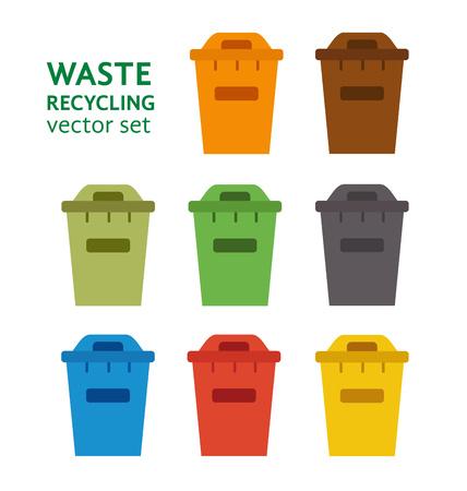 separacion de basura: Clasificación de desechos cubo de basura conjunto de vectores. gestión de residuos y el concepto de reciclaje con el conjunto de cubo de la basura. La separación de los residuos conjunto contenedor de basura. Ordenando las latas de reciclaje de residuos. Cubos de basura de color vectorial. Vectores