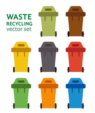separacion de basura: Clasificaci�n de desechos cubo de basura conjunto de vectores. gesti�n de residuos y el concepto de reciclaje con el conjunto de cubo de la basura. La separaci�n de los residuos conjunto contenedor de basura. Ordenando las latas de reciclaje de residuos. Cubos de basura de color vectorial. Vectores