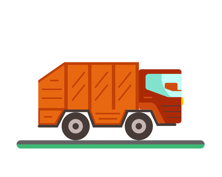 disposal: Garbage truck illustration. Waste disposal flat concept with garbage container truck. City waste disposal management. Waste sorting Garbage truck Illustration