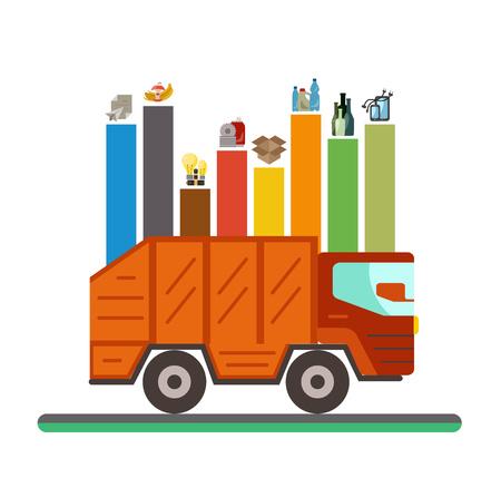 Garbage recycling categorieën infographic flat concept. Vector illustratie van de stad vuilnis recycling categorieën en afvalverwerking. types stad garbage sorting beheer