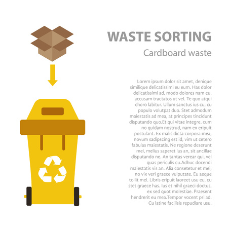 categories: Paper waste sorting flat concept.  Vector illustration of paper waste. Paper waste recycling categories and garbage disposal. Paper waste types sorting management . Illustration