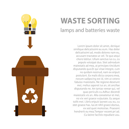 disposal: Lamp and battery waste sorting flat concept.  Vector illustration of lamp and battery  waste. Lamp and battery waste recycling categories and garbage disposal.  Lamp waste types sorting management .