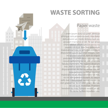 disposal: Paper waste sorting flat concept.  Vector illustration of paper waste. Paper waste recycling categories and garbage disposal. Paper waste types sorting management . Illustration