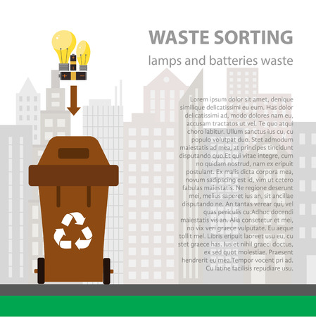 categories: Lamp and battery waste sorting flat concept.  Vector illustration of lamp and battery  waste. Lamp and battery waste recycling categories and garbage disposal.  Lamp waste types sorting management .