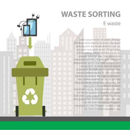 segregation: E-waste sorting flat concept.  Vector illustration of e-waste. E- waste recycling categories and garbage disposal.  E-waste types sorting management .