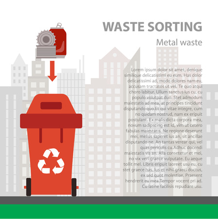 waste recycling: Metal waste sorting flat concept.  Vector illustration of metal waste. Metal waste recycling categories and garbage disposal. Metal waste types sorting management .