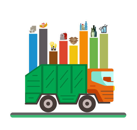 disposal: Waste recycling categories infographic flat concept. Vector illustration of city waste recycling categories and waste disposal. City waste types sorting management