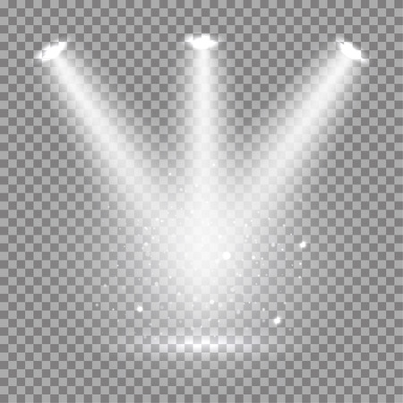 White glowing transparent spotlight background. Vector spotlight background illustration.  Transparent shine spotlight background. Bright lighting effect spotlights. Realistic studio illumination.