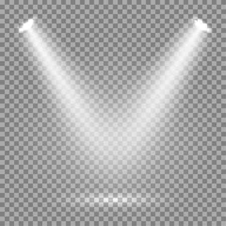 lighting effect: White glowing transparent spotlight background. Vector spotlight background illustration.  Transparent shine spotlight background. Bright lighting effect spotlights. Realistic studio illumination.