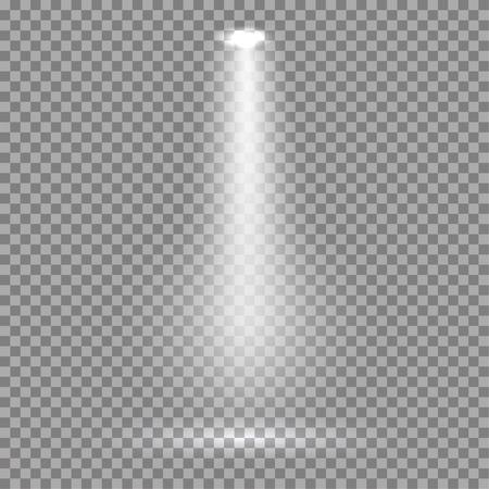 spotlight: White glowing transparent spotlight background. Vector spotlight background illustration.  Transparent shine spotlight background. Bright lighting effect spotlights. Realistic studio illumination.