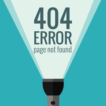 page not found: Vector concept 404 error. Illustration for 404 page not found. Flat design 404 page. Template for 404 error page not found. Illustration of flashlight for page with 404 error