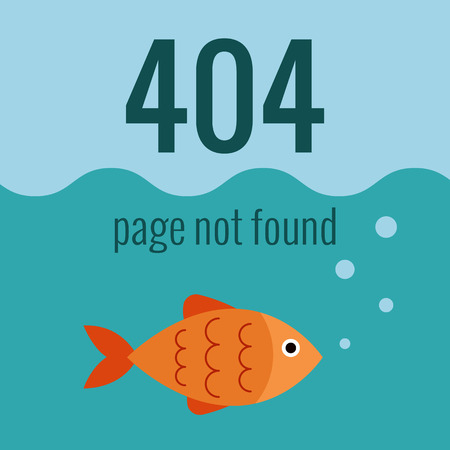 page not found: Vector concept 404 error. Illustration for 404 page not found. Flat design 404 page. Template for 404 error page not found. Illustration of aquarium with fish for page with 404 error Illustration