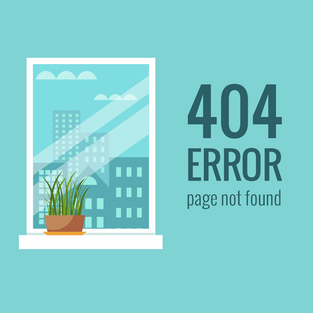 page not found: Vector concept 404 error. Illustration for 404 page not found. Flat design 404 page. Template for 404 error page not found. Illustration of window with houseplant for page with 404 error