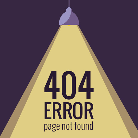 error message: Vector concept 404 error. Illustration for 404 page not found. Flat design 404 page. Template for 404 error page not found. Illustration of lamp light for page with 404 error Illustration