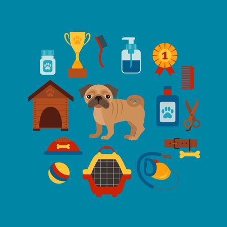 leash: Pet training concept with dog care elements. Pet training:  bowl, collar, leash. Pet training  poster vector illustration. Colorful pet training concept in flat style. Dog care pet training concept