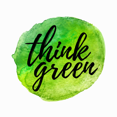 think green: Think green lettering hand drawn. Positive think green quote. Lettering design of think green quote for posters, t-shirts, cards, banners, advertisement. Think green quote calligraphic design.