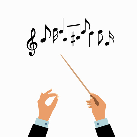 Conductor hands concept. Vector choir conductor music illustration. Concept of flat conductor orchestra hands. Colorful chorus conductor concept  for your design. Conductor music banton isolated. Ilustracja