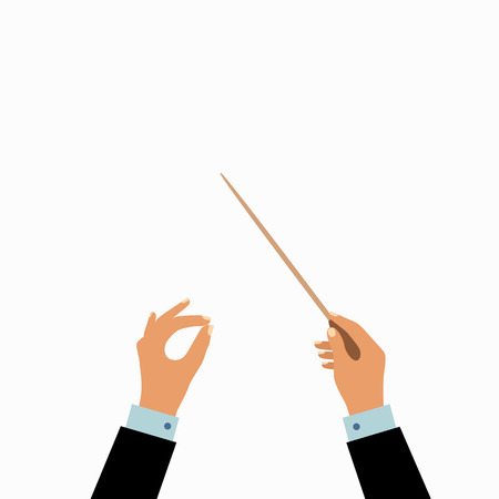 Conductor hands concept. Vector choir conductor music illustration. Concept of flat conductor orchestra hands. Colorful chorus conductor concept  for your design. Conductor music banton isolated. Vettoriali