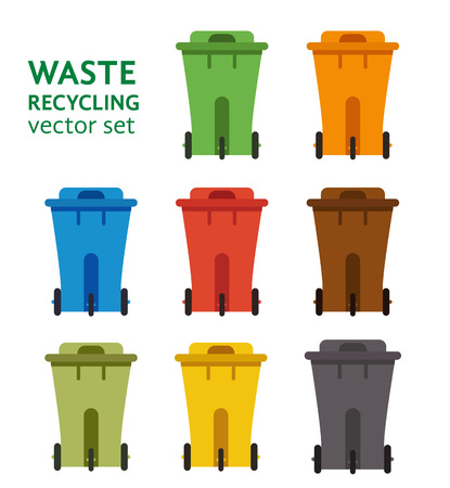 pail tank: Waste sorting garbage bin set vector. Waste management and recycle concept with waste bin set. Separation of waste trash bin set. Sorting recycling waste cans. Colored garbage cans vector.