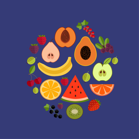 apple symbol: Fruit flat composition. Vector fruit icons circle illustration. Concept of flat fruits and berries icons. Colorful fruit composition for your design. Composition of fruits and berries isolated