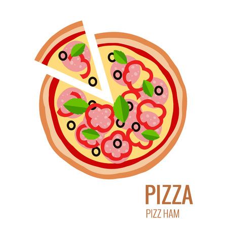 pizza slice: Pizza piece icon background. Pizza icon flat design. Flat illustration of pizza slice for pizza menu. Vector pizza silhouette collection. Pizza isolated background. Pizza food illustration