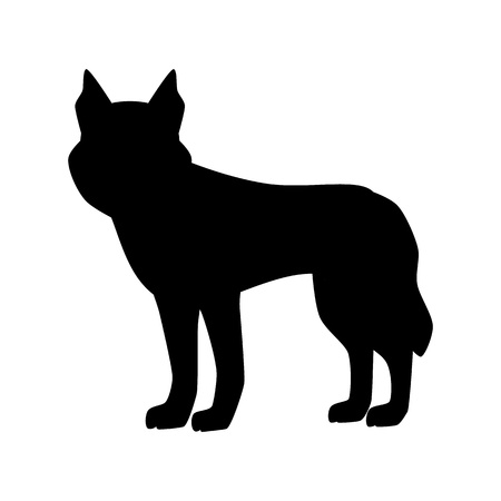 Flat husky pet illustration. Standing cute dog vector. Flat dog animal pet vector icon. Home cartoon standing husky in flat style. Dog black silhouette isolated on white background