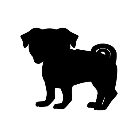 pug puppy: Flat pug pet illustration. Standing cute dog vector. Flat dog animal pet vector icon. Home cartoon pug spaniel in flat style. Dog black silhouette isolated on white background